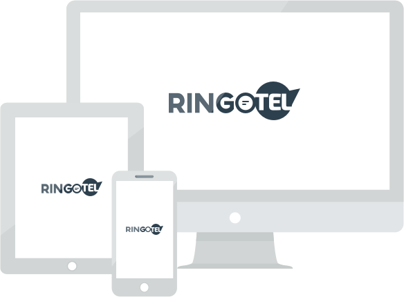 Desktop and mobile devices with Ringotel logo on it