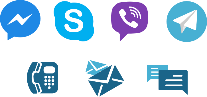 Icons of Skype, Messenger, Viber, Telegram, phone, email, chat